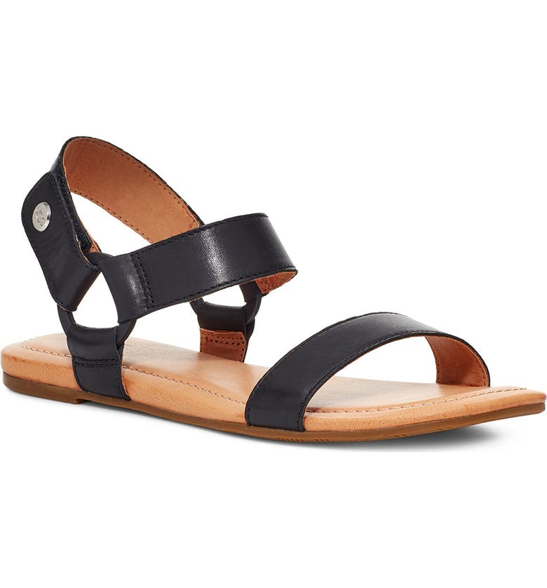 UGG<SUP>®</SUP> Rynell Sandal, Main, color, BLACK LEATHER