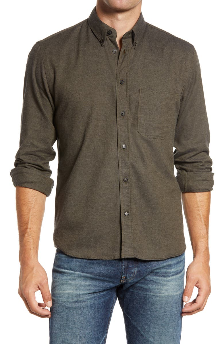 BILLY REID Tuscumbia Slim Fit Cotton & Cashmere Shirt, Main, color, DEEP GREEN