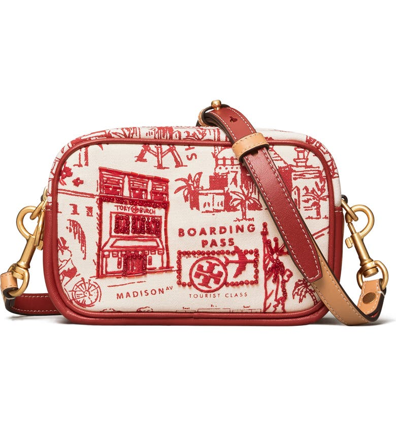 TORY BURCH Mini Perry Printed Canvas Crossbody Bag, Main, color, 600