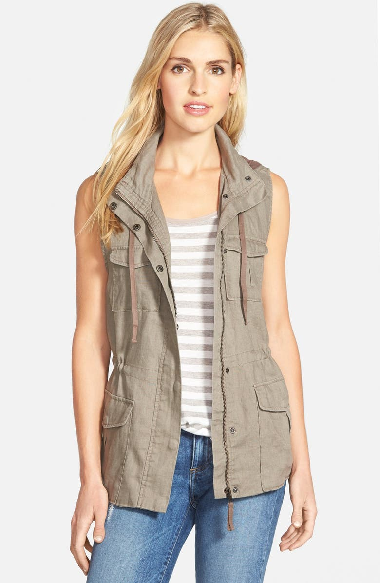 GIBSONLOOK Gibson Linen Utility Vest with Knit Hood, Main, color, NATURAL