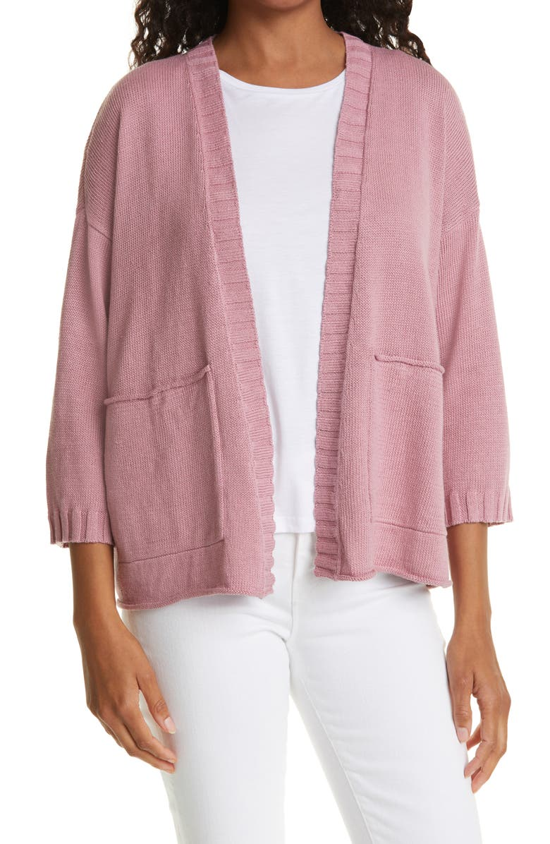 EILEEN FISHER Open Front Cardigan, Main, color, MAGNOLIA