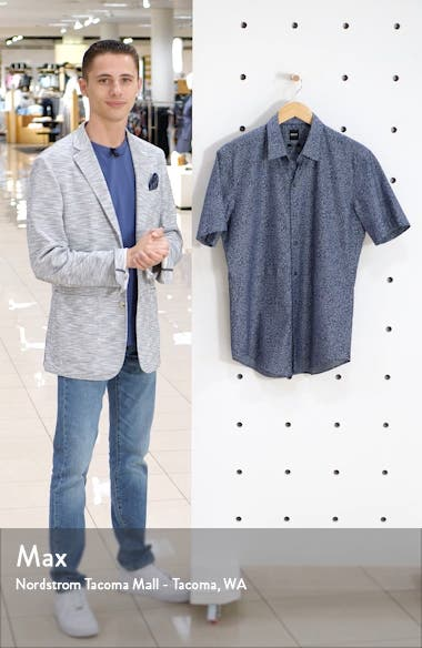 Robb Sharp Fit Floral Short Sleeve Button-Up Shirt, sales video thumbnail