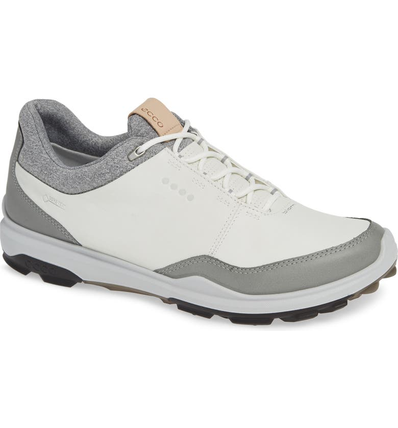 ECCO BIOM Hybrid 3 Gore-Tex<sup>®</sup> Golf Shoe, Main, color, WHITE/ BLACK LEATHER
