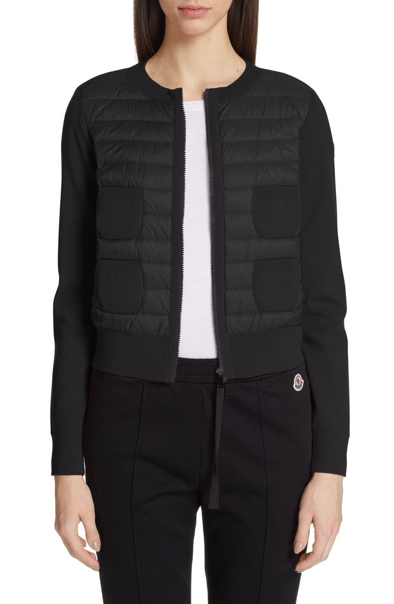 MONCLER Alla Coreana Lightweight Down Front Wool Cardigan, Main, color, 001