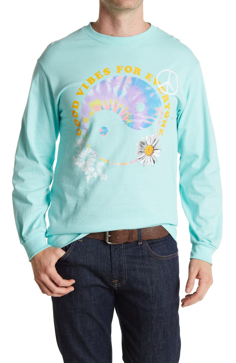 ABOUND Good Vibes Long Sleeve Graphic T-Shirt, Main, color, TEAL GOOD VIBES