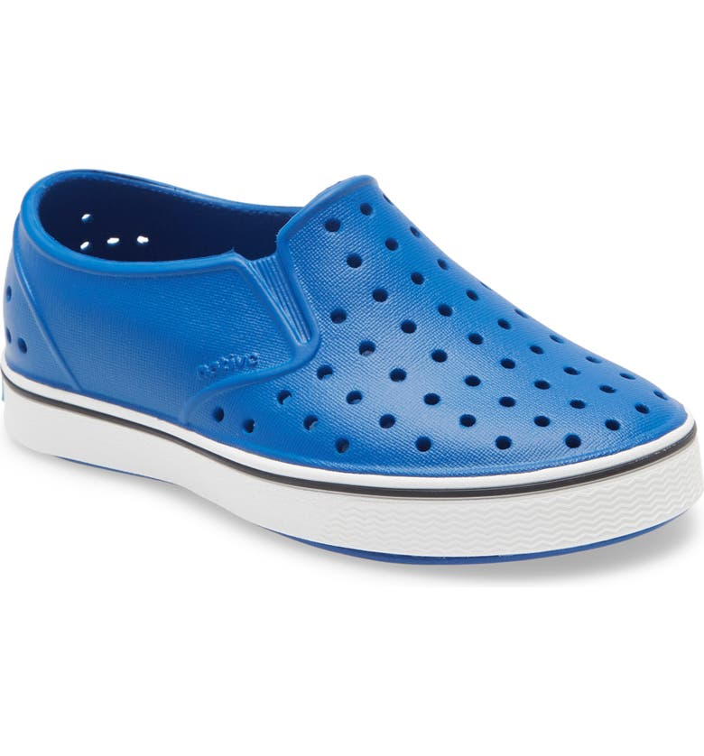 NATIVE SHOES Miles Water Friendly Slip-On Vegan Sneaker, Main, color, VICTORY BLUE/ SHELL WHITE