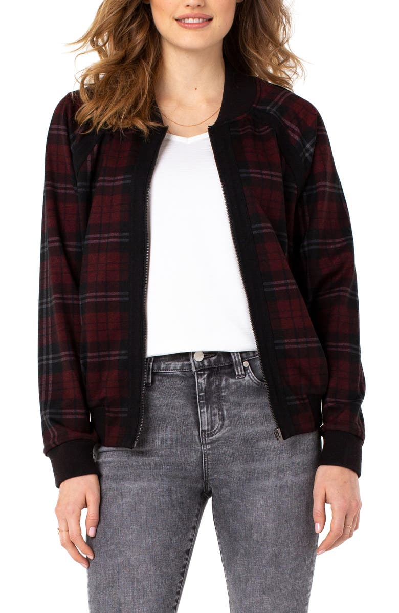 LIVERPOOL LOS ANGELES Liverpool Tartan Plaid Bomber Jacket, Main, color, RED/ BLK TARTAN
