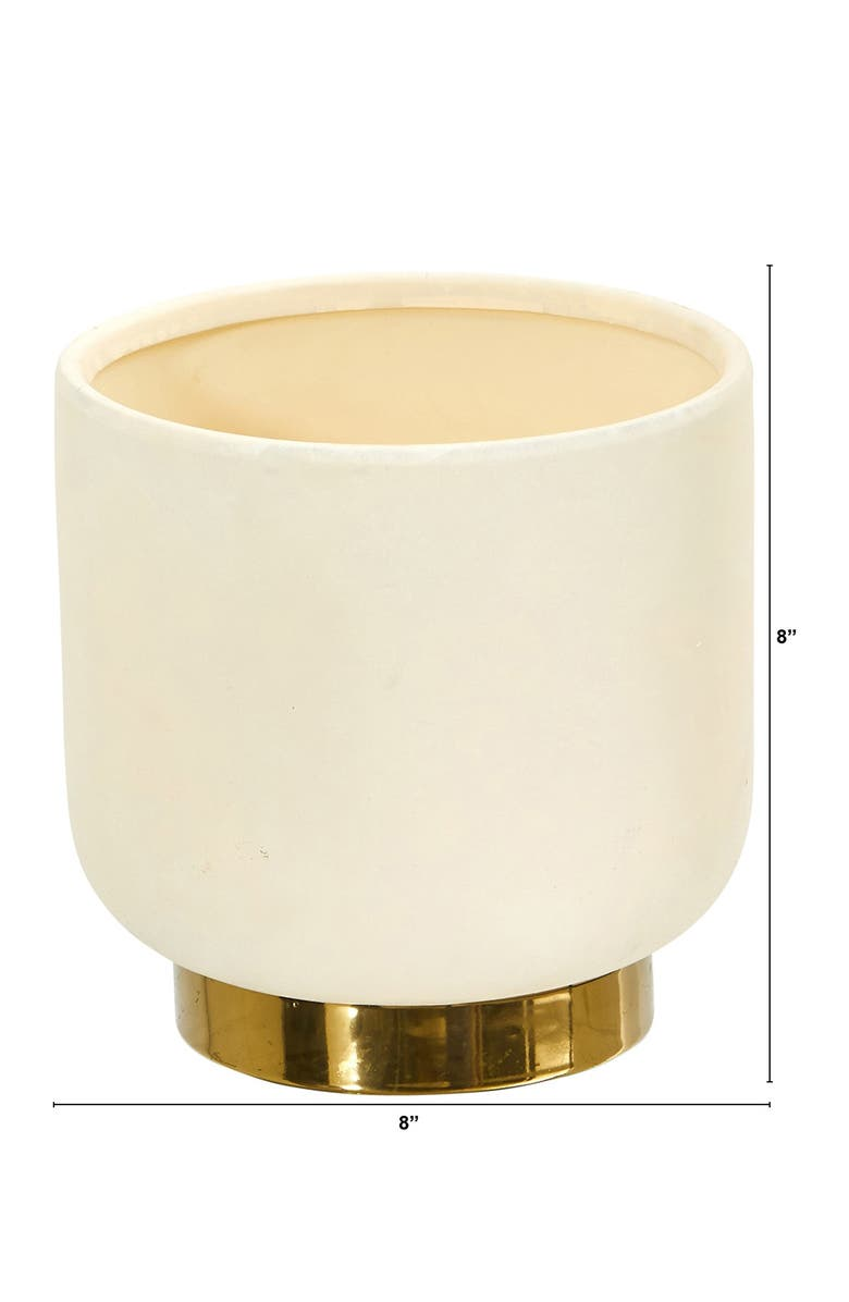 NEARLY NATURAL 8in. Elegance Ceramic Planter with Gold Accents, Main, color, WHITE