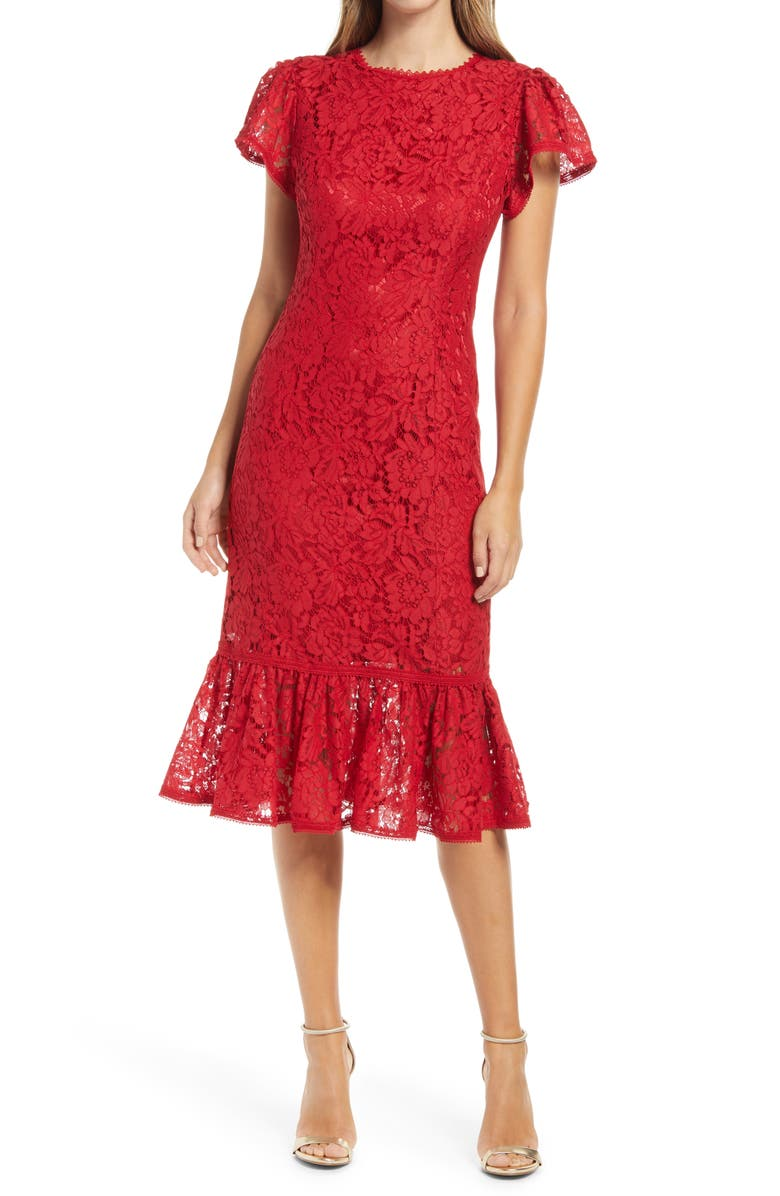 RACHEL PARCELL Lace Ruffle Hem Sheath Dress, Main, color, RED SCOOTER
