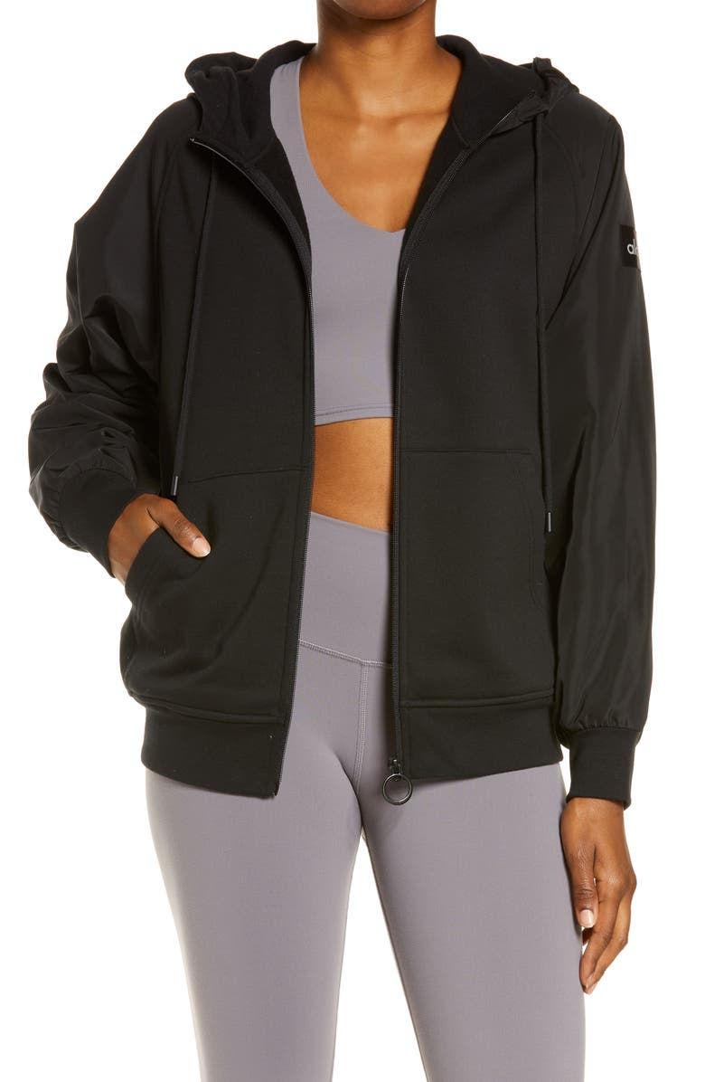 ALO On the Go Zip-Up Hoodie, Main, color, BLACK