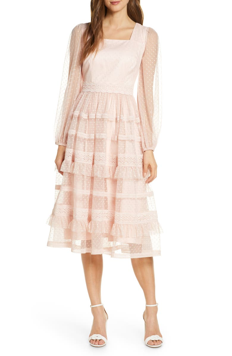 RACHEL PARCELL Tiered Ruffle Long Sleeve Lace Midi Dress, Main, color, 680