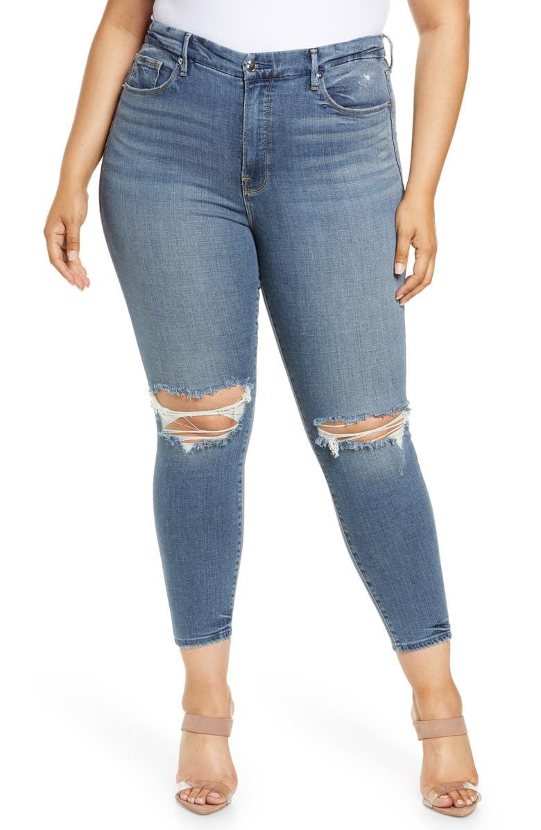 GOOD AMERICAN Good Legs High Waist Ripped Crop Skinny Jeans, Main, color, BLUE261
