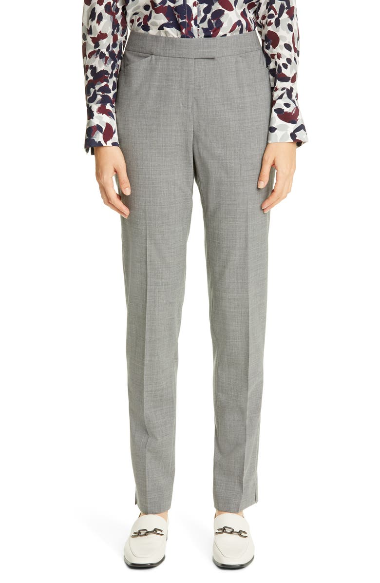 LAFAYETTE 148 NEW YORK Irving Skinny Stretch Wool Pants, Main, color, NICKEL
