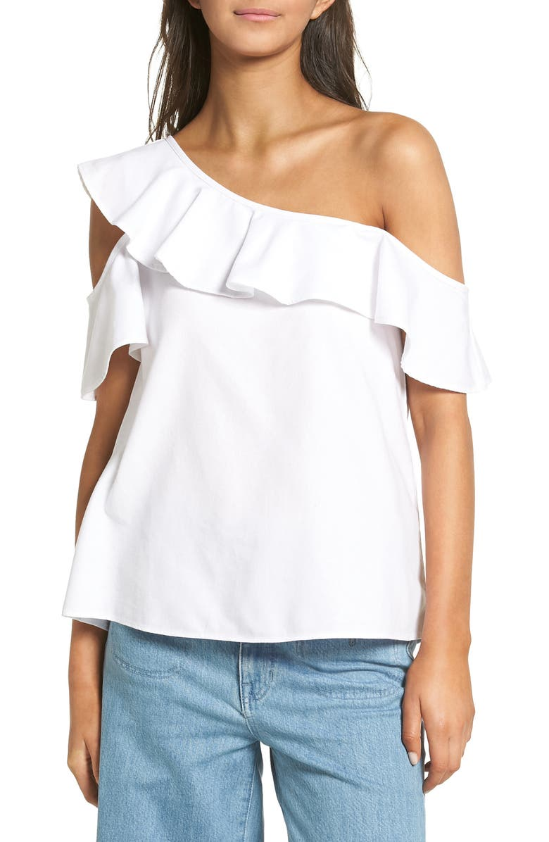 MADEWELL One Shoulder Ruffle Top, Main, color, PURE WHITE