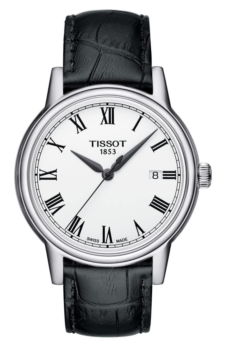 TISSOT Carson Leather Strap Watch, 39mm, Main, color, 001