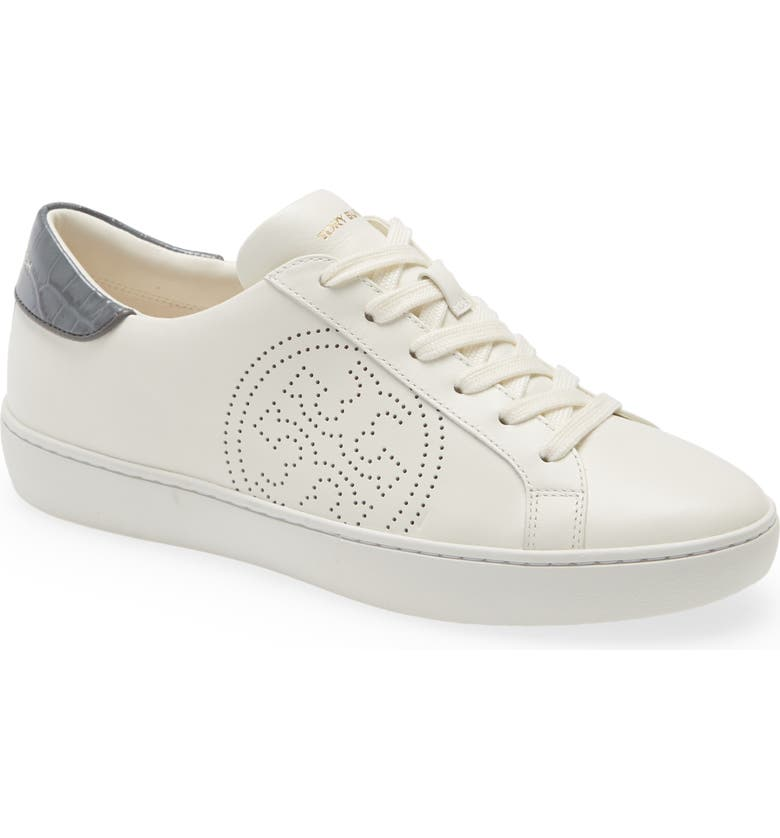 TORY BURCH Leigh Sneaker, Main, color, NEW IVORY/ CROC MALTA GRAY