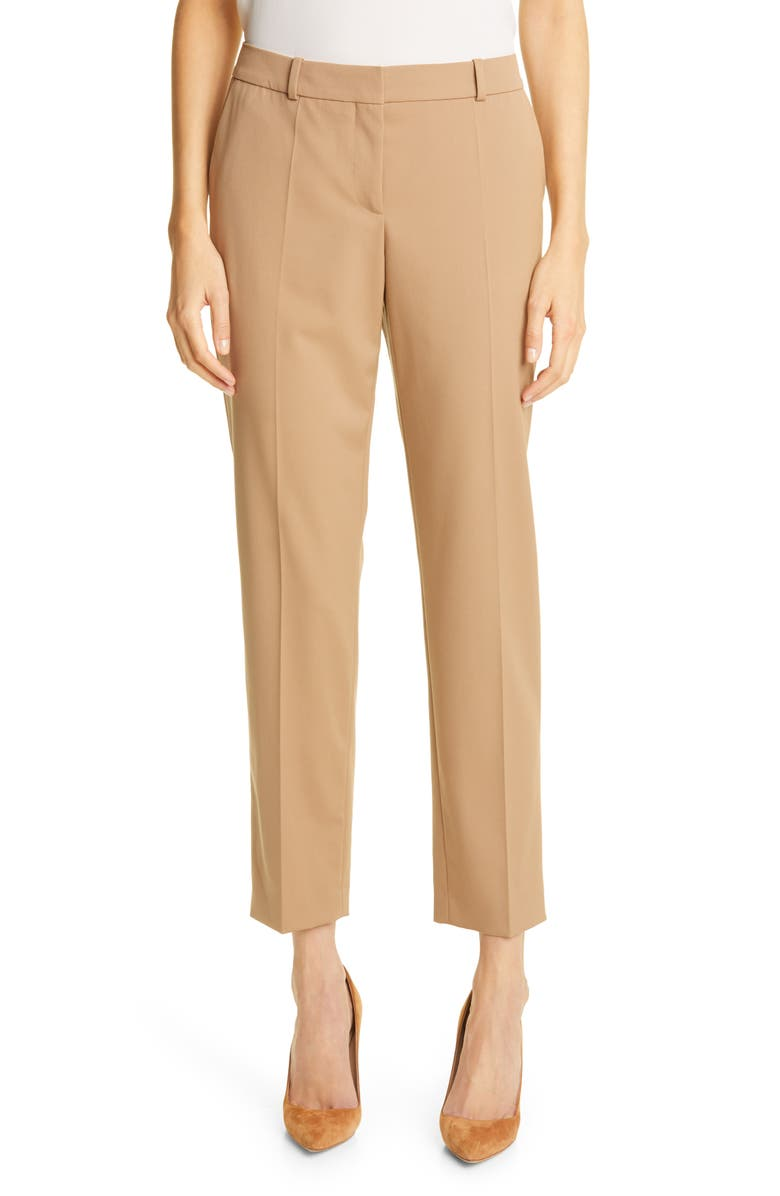 BOSS HUGO BOSS Tocanes Stretch Wool Trousers, Main, color, CAMEL