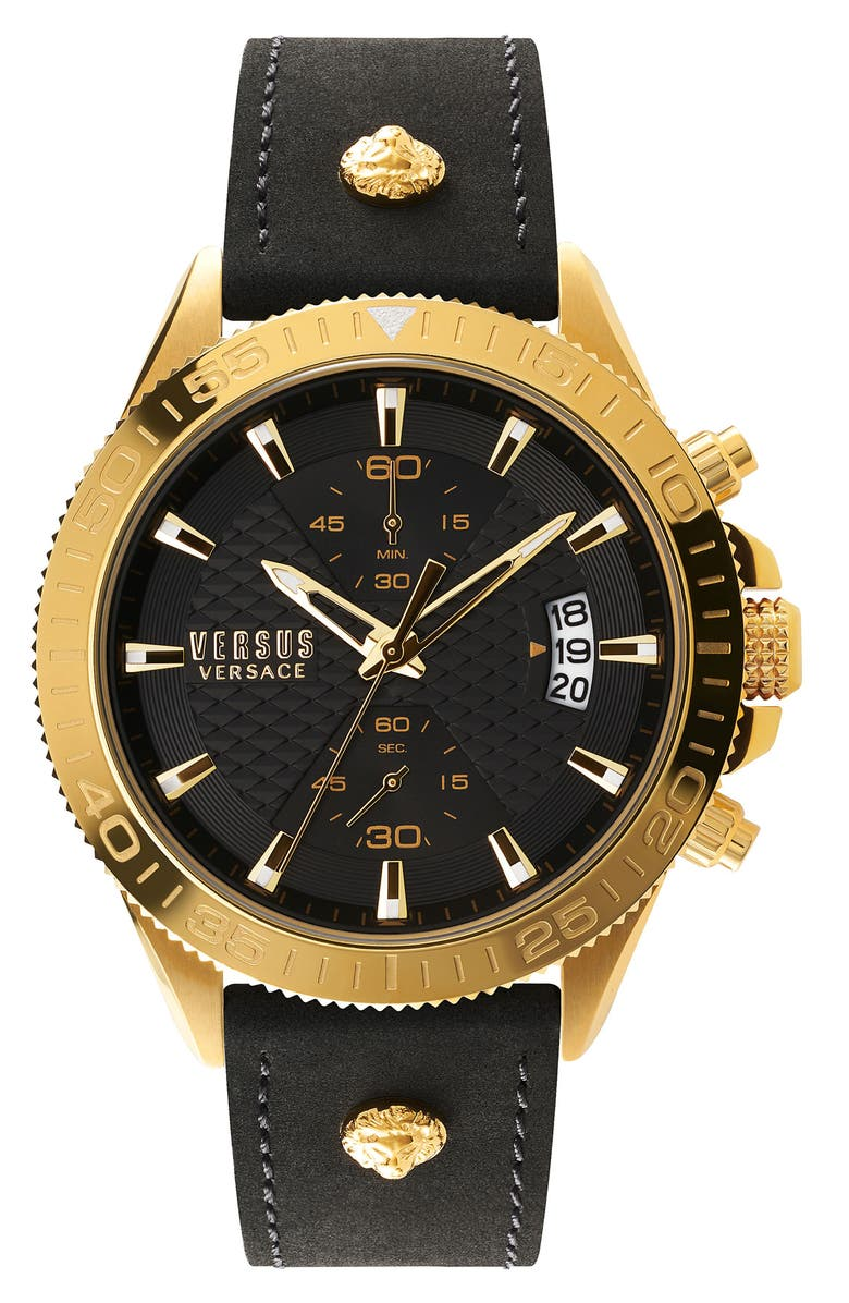 VERSUS VERSACE Griffith Chronograph Leather Strap Watch, 46mm, Main, color, BLACK