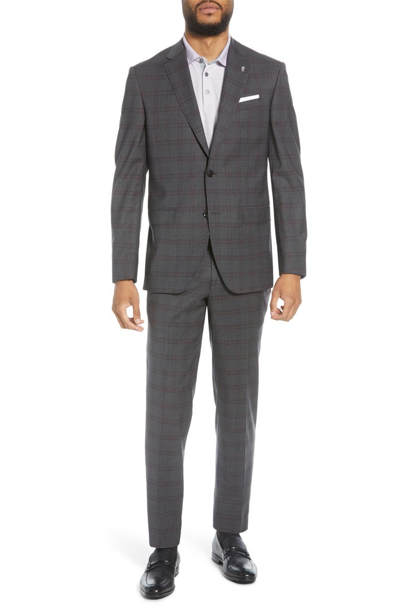 TED BAKER LONDON Jay Trim Fit Plaid Stretch Wool Suit, Main, color, 020