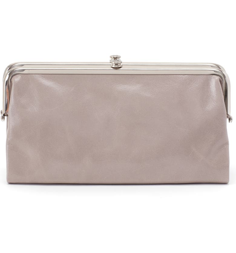 HOBO 'Lauren' Leather Double Frame Clutch, Main, color, DRIFTWOOD