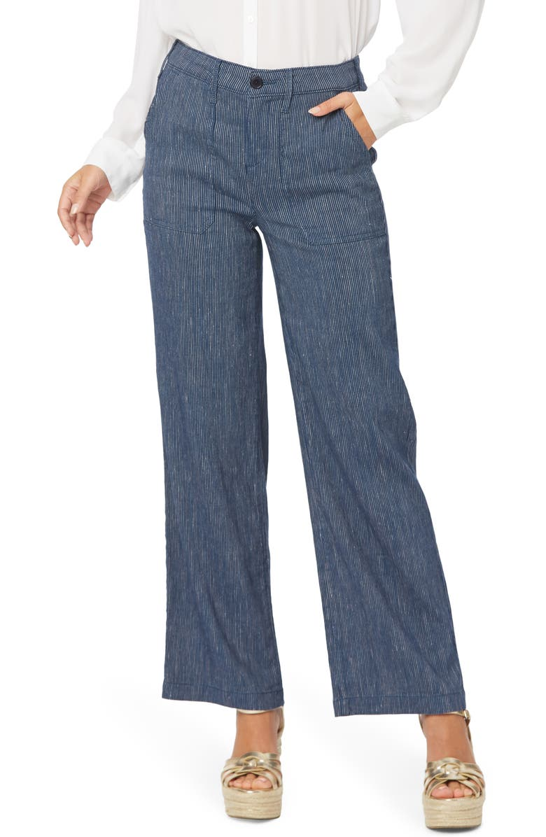 NYDJ The Trouser Stripe Linen Blend Pants, Main, color, AGUA STRIPE
