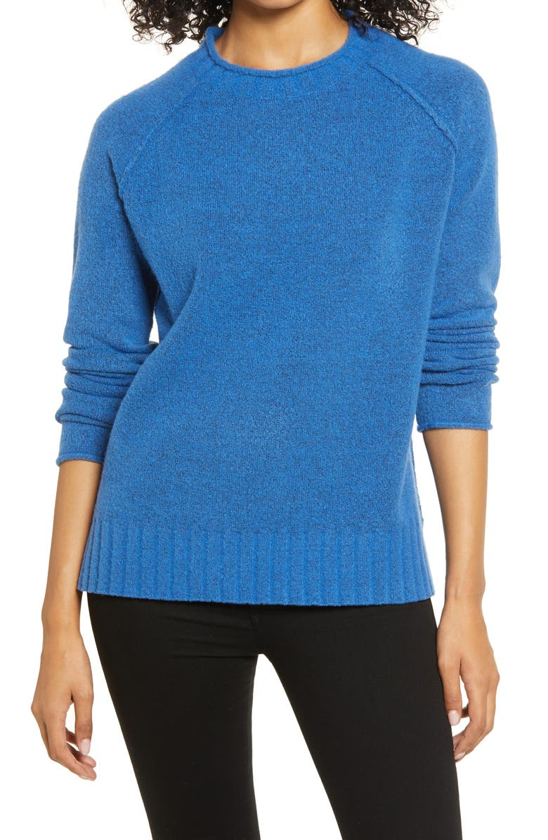 CASLON<SUP>®</SUP> Cozy Rolled Crewneck Sweater, Main, color, BLUE CHINA
