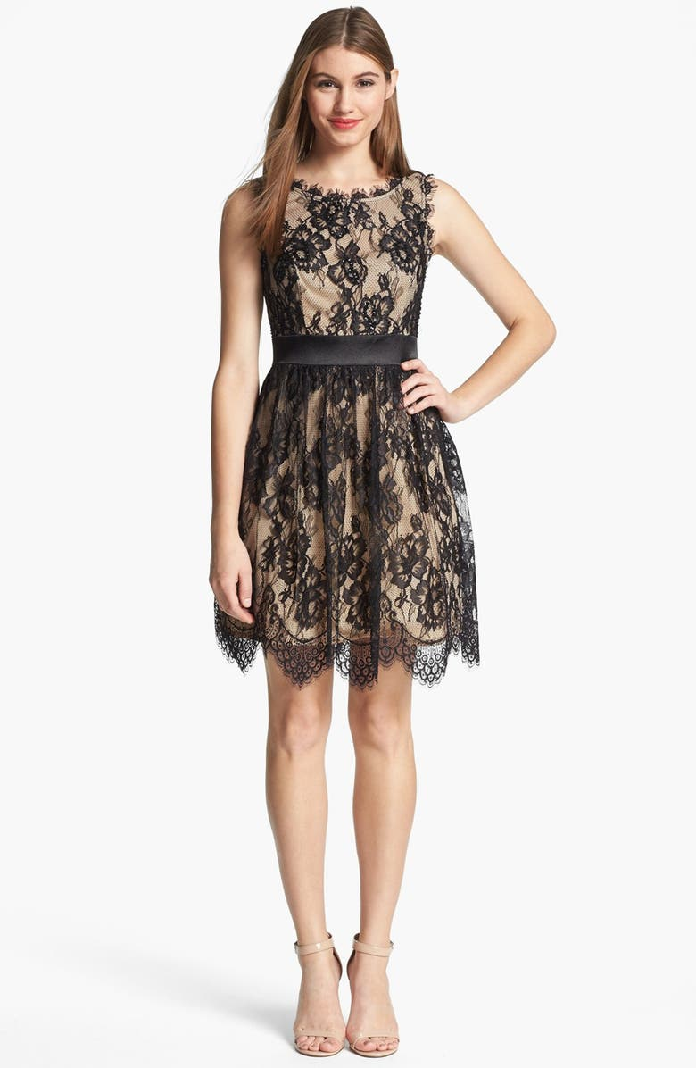 BETSY & ADAM Embellished Lace Dress, Main, color, 002