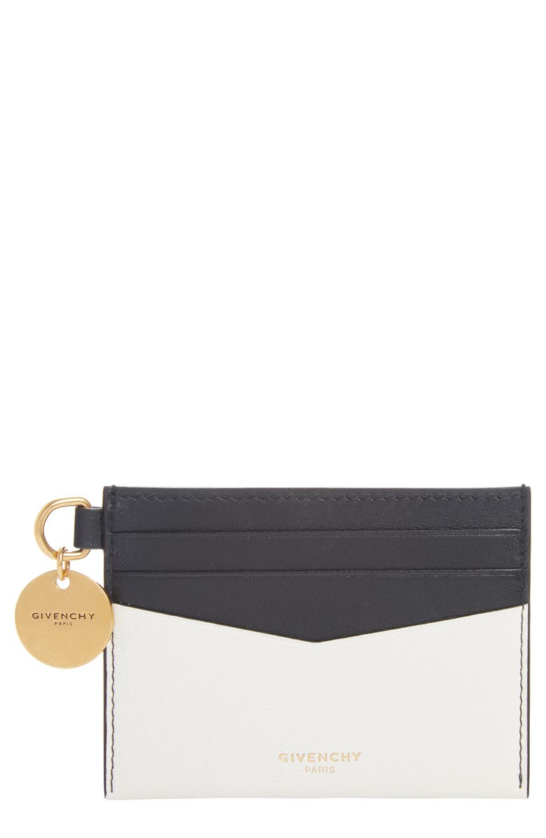 GIVENCHY Bicolor Leather Card Case, Main, color, IVORY