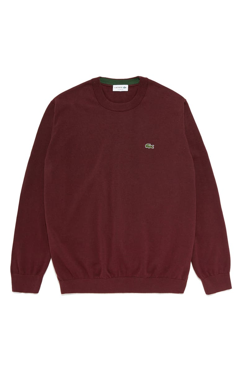 LACOSTE Solid Cotton Jersey Crewneck Sweater, Main, color, VINE CHINE