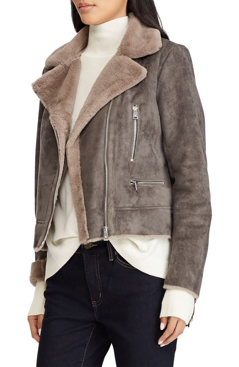 LAUREN RALPH LAUREN Faux Shearling Moto Jacket, Main, color, 036