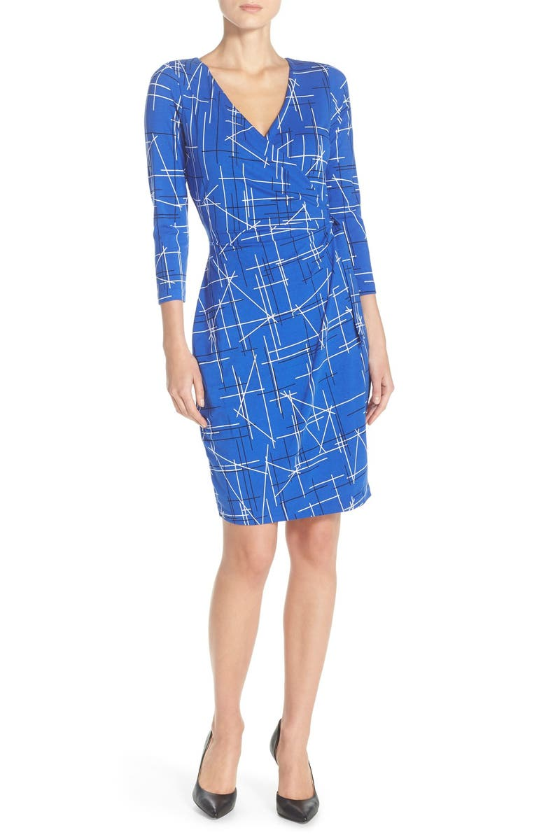 NYDJ Print Faux Wrap Dress, Main, color, 411