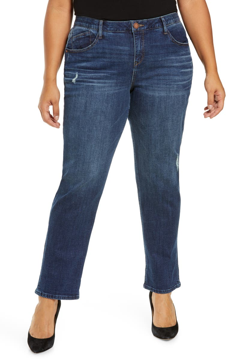 WIT & WISDOM Ab-Solution Cuffed Girlfriend Jeans, Main, color, BLUE