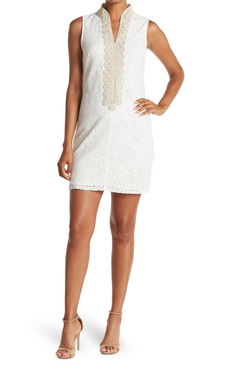 VINCE CAMUTO Embroidered Sleeveless Lace Sheath Dress, Main, color, IVORY