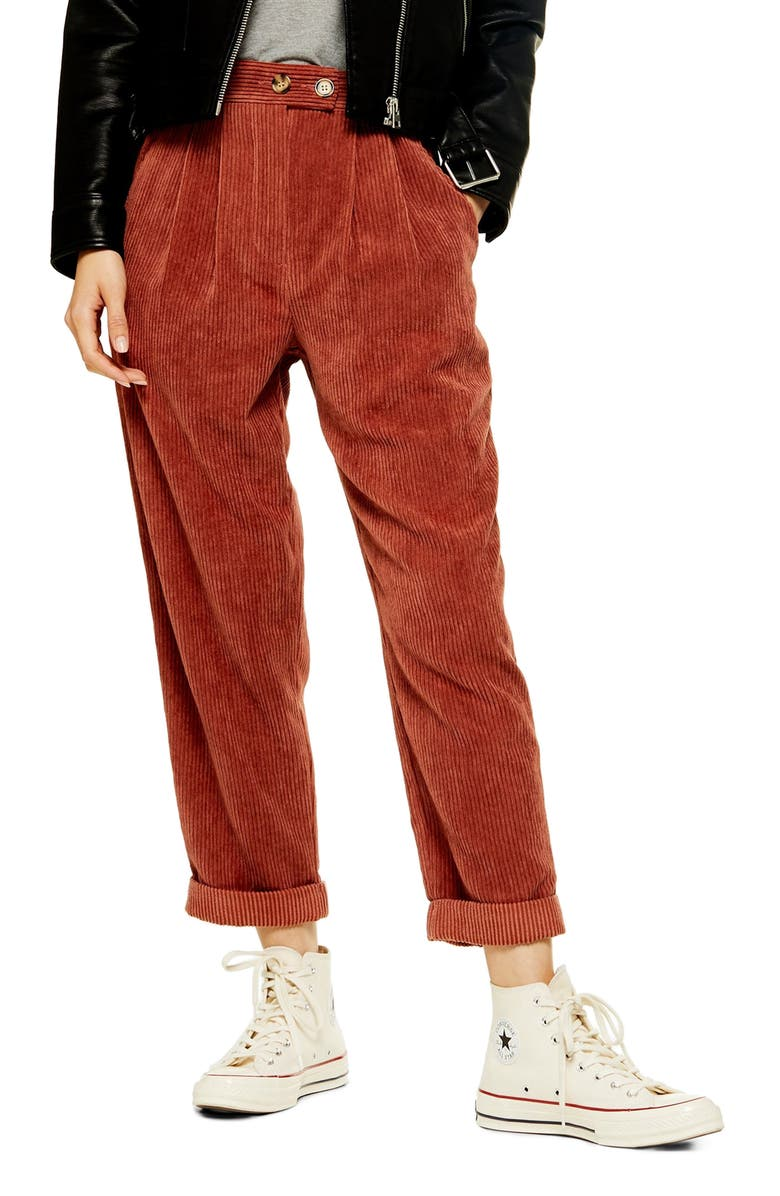 TOPSHOP Straight Leg Cord Trousers, Main, color, Brown