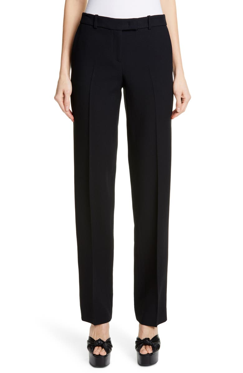 MICHAEL KORS COLLECTION Michael Kors Straight Leg Trousers, Main, color, 001