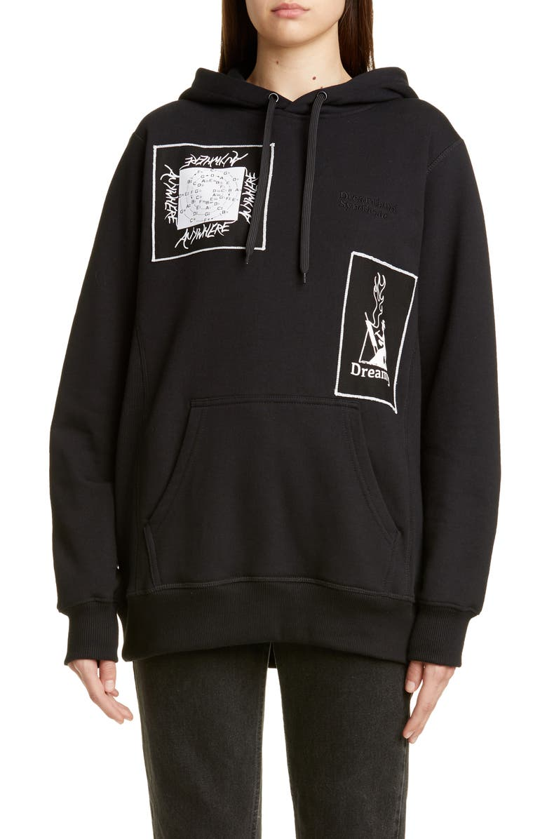 DREAMLAND SYNDICATE Graphic Patch Oversize Hoodie, Main, color, 001