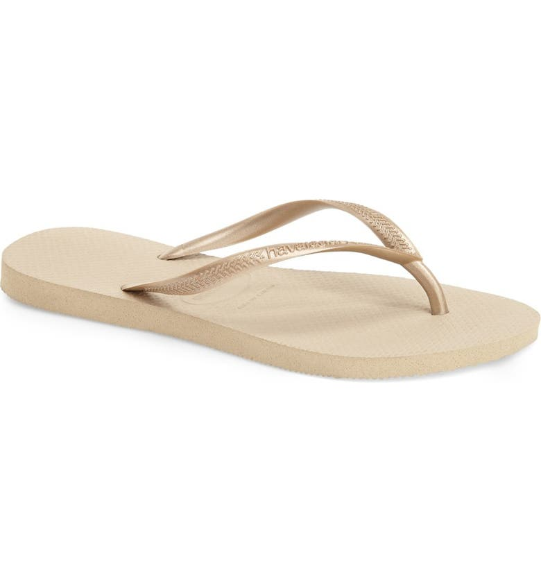 HAVAIANAS Slim Flip Flop, Main, color, LIGHT GOLDEN