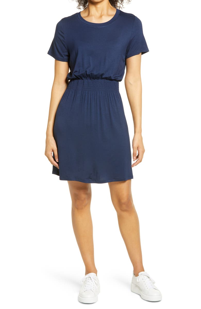 BOBEAU Smocked Waist Dress, Main, color, NAVY