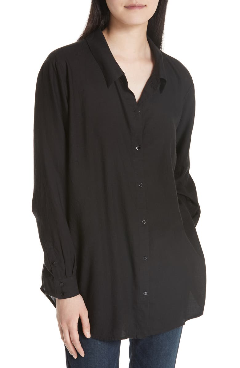 EILEEN FISHER Tencel<sup>®</sup> Lyocell Shirt, Main, color, Black