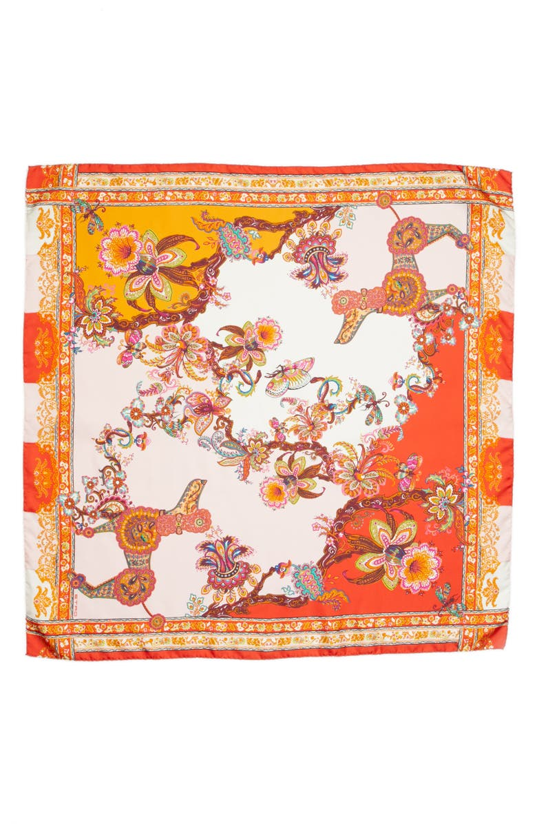 ETRO Year of the Dog Square Silk Scarf, Main, color, 600