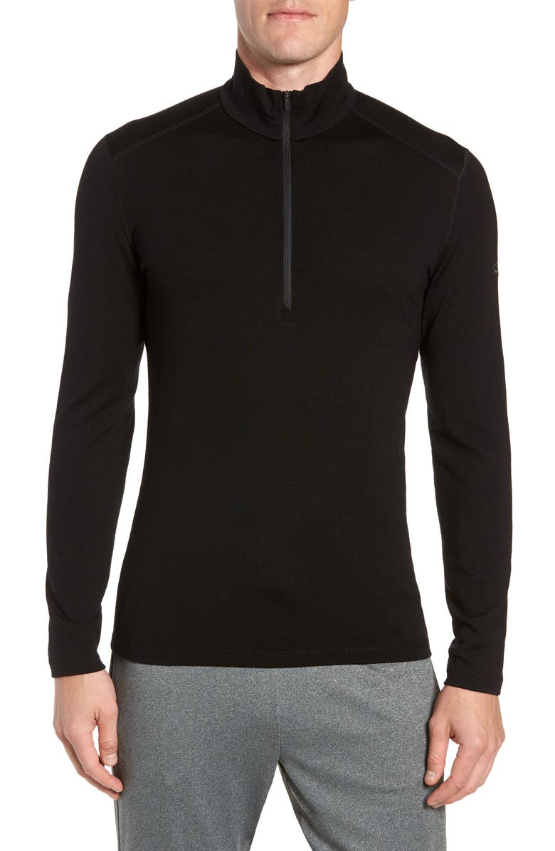 ICEBREAKER 260 Tech Merino Wool Half Zip Base Layer Top, Main, color, BLACK