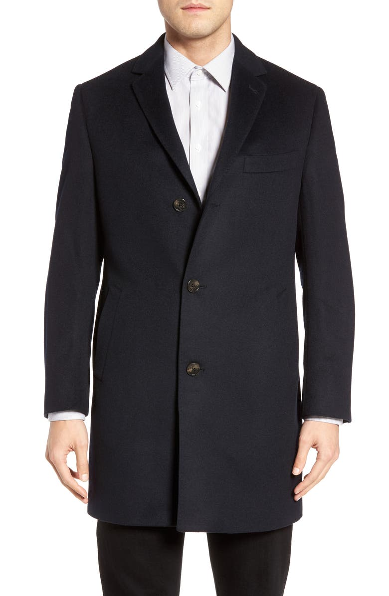 CARDINAL OF CANADA St. Paul Wool & Cashmere Topcoat, Main, color, NAVY