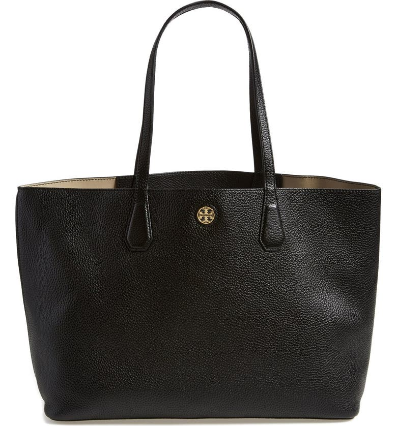 TORY BURCH 'Perry' Leather Tote, Main, color, 001