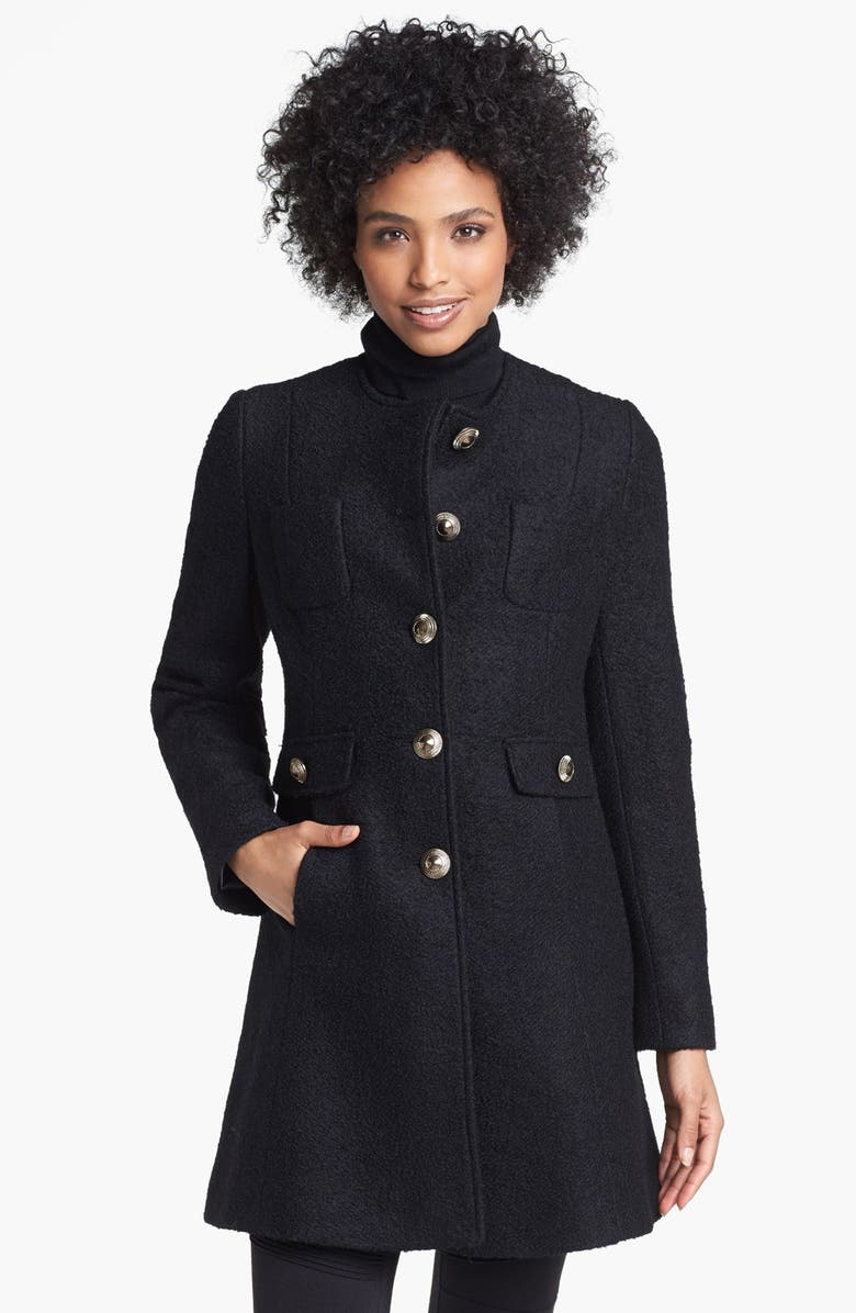 KENNETH COLE NEW YORK Collarless Bouclé Walking Coat, Main, color, Black