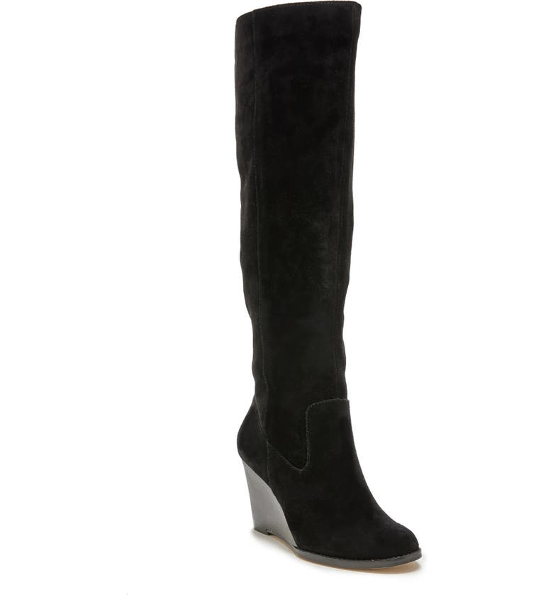 SOLE SOCIETY Prony Knee High Wedge Boot, Main, color, 001