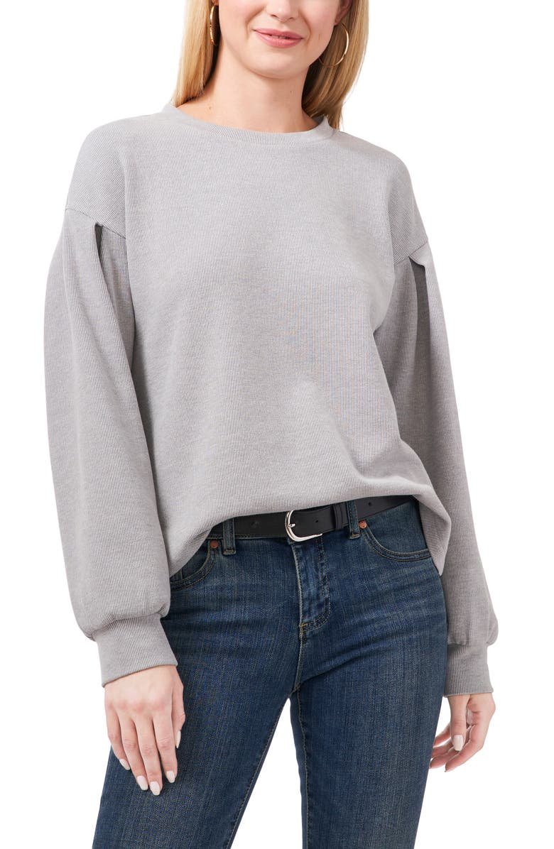 VINCE CAMUTO Pleat Rib Top, Main, color, SILVER HEATHER