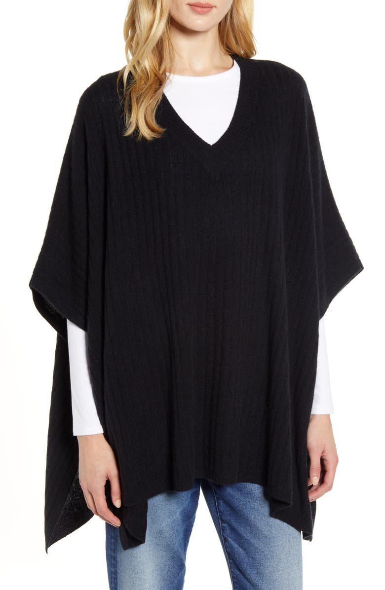 HALOGEN<SUP>®</SUP> Easy Cashmere Poncho, Main, color, 001