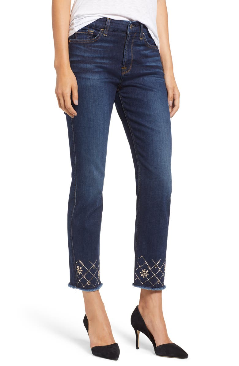 JEN7 by 7 For All Mankind Embellished Ankle Straight Leg Jeans, Main, color, 400