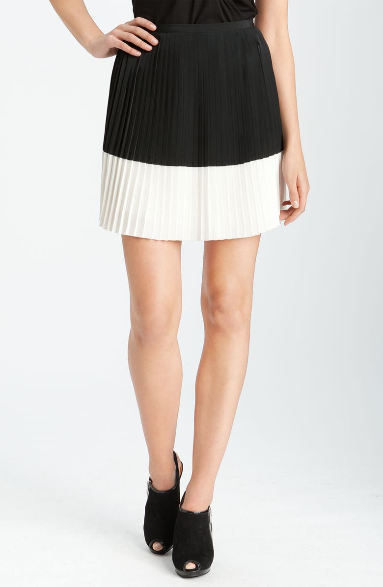VINCE CAMUTO Colorblock Crystal Pleat Skirt, Main, color, 001