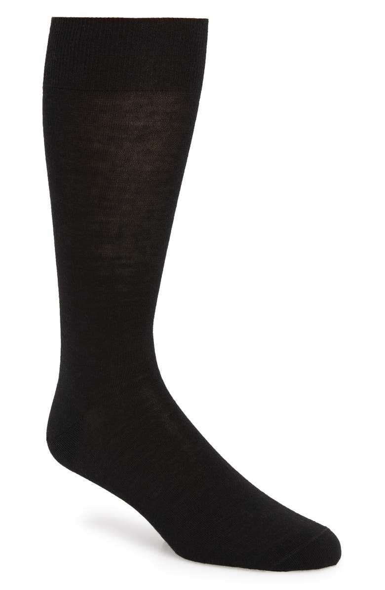 NORDSTROM SIGNATURE Merino Wool Blend Socks, Main, color, BLACK